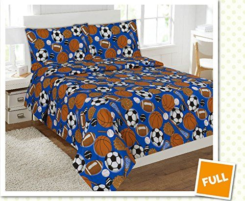 Kids' Comforters - Fancy Collection 4 pc Kidsteens Sports Football Basketball Baseball Soccer Design Luxury Sheet set Full Size New * You can get additional details at the image link.