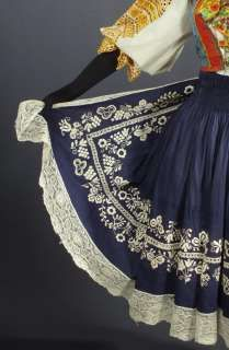 SLOVAK FOLK COSTUME embroidered bonnet cap blouse apron skirt vest .
