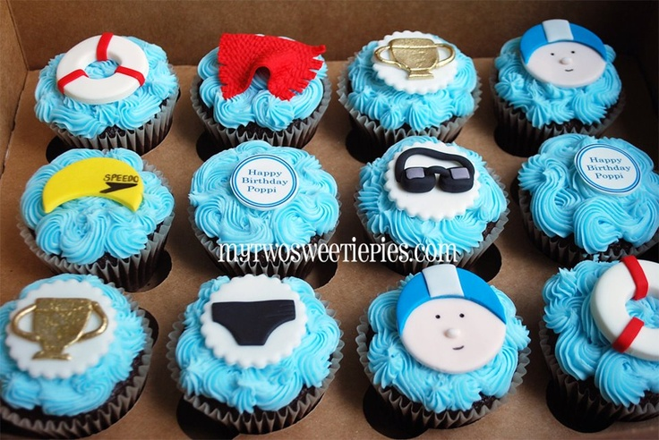 Swimming-theme cupcakes