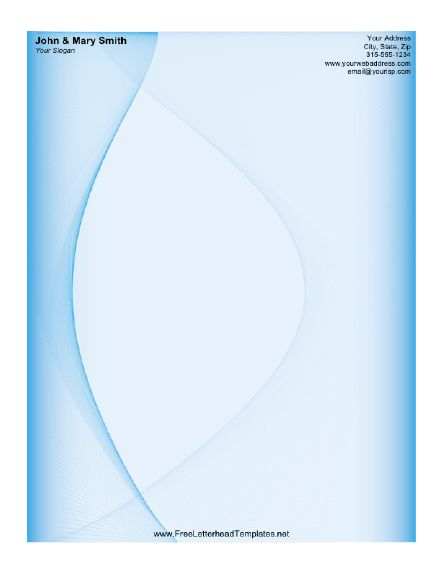 This blue letterhead is designed with wave-like curves. Free to download and print