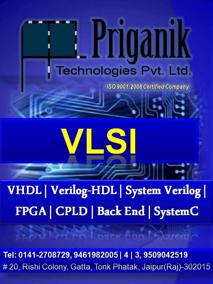 PRIGANIK is specialized in providing training on various technologies namely: #VLSITraining #Embedded Systems #Advance Embedded Systems (PIC, ARM, AVR) #VLSI-Design & Verification #Robotics #VHDL #Verilog-HDL #Systems Verilog (HVL) #Analog Circuit Designing (Spice Simulation) #MSP430 #PCB Designing #LabVIEW #MATLAB #MTech Thesis | Dissertation #SummerInternshipJaipur #VHDLTrainingJaipur #VerilogTrainingJaipur #FPGATrainingJaipur #SummerTrainingJaipur #RoboticsTraining #TraininginJaipur