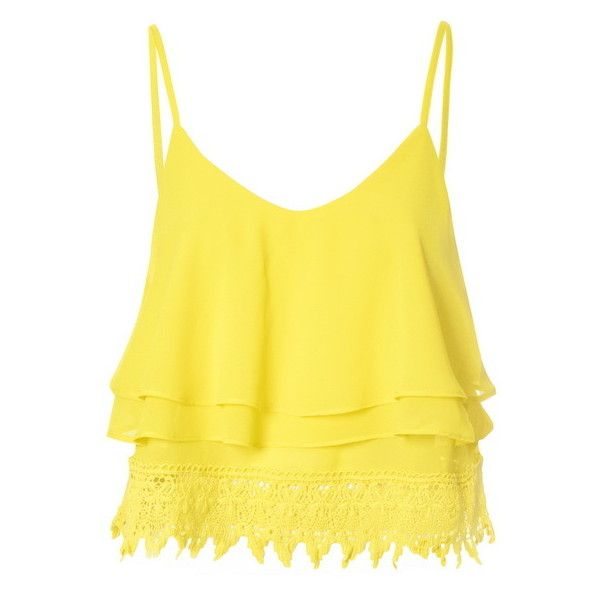 Yellow Lace Cropped Cami Top (€17) ❤ liked on Polyvore featuring tops, yellow, lace camisole, yellow tank, lace top, lace cami and crop top