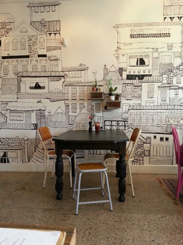 43 best restaurant wall ideas images on pinterest for Cafe wall mural
