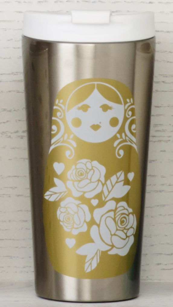 Insulating stainless steel tumbler featuring a Russian nesting doll and a smaller sleeping doll on the back. #Starbucks #DotCollection