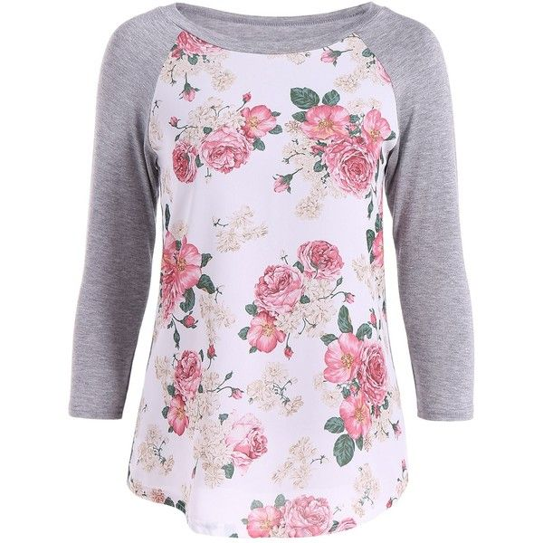 3D Floral Raglan Sleeve T-Shirt ($9.20) ❤ liked on Polyvore featuring tops, t-shirts, purple floral top, purple t shirt, raglan sleeve tee, floral print tops and floral tops
