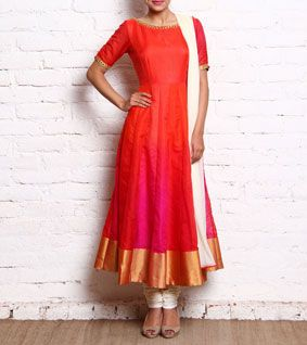 Orange & Pink Raw Silk Anarkali With Churidars And Dupatta