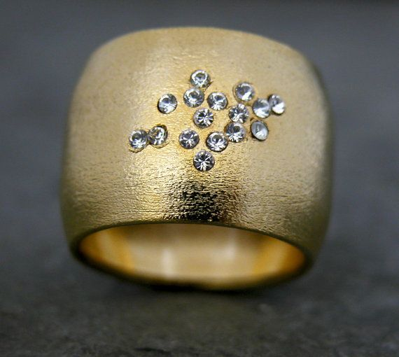 Wide Gold Band Cubic Zirconia Gold Band Wedding by gazellejewelry