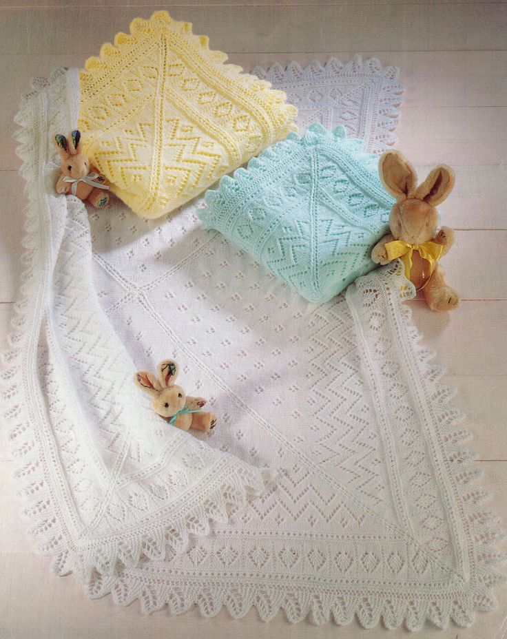 Knit in 3Ply 4ply or DK. have a look! KNITTING PATTERN COPY. Pretty Lacy Baby Blanket/Shawl. The centre is knit in 4 pieces. 3.25mm needles for 3 & 4 Ply Blanket. 4mm needles for the DK Blanket. The border is done in one piece and joined to centre. | eBay!