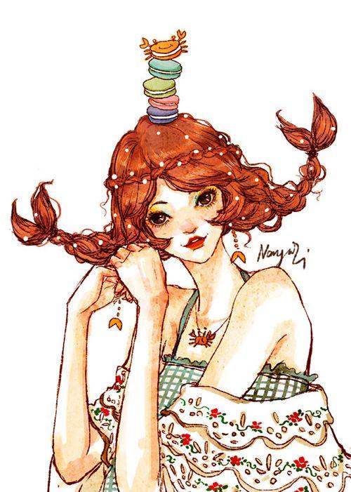 cancer - Pumpkin seeds of twelve constellations fashion girl illustration | Niu News
