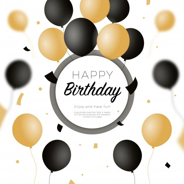 Download Happy Birthday Background With Black And Golden Balloons For Free Happy 50th Birthday Wishes 50th Birthday Wishes Birthday Background