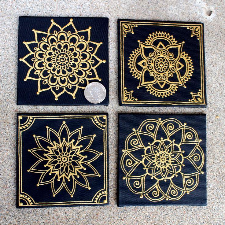 4x4 Hand Painted Canvas: Gold Mandala on Black Set by HennaByBeth