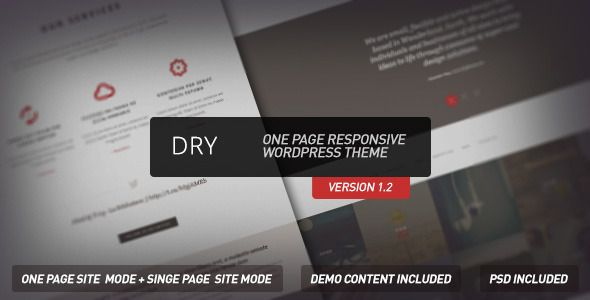 Dry  - One Page Responsive Wordpress Theme - Creative WordPress
