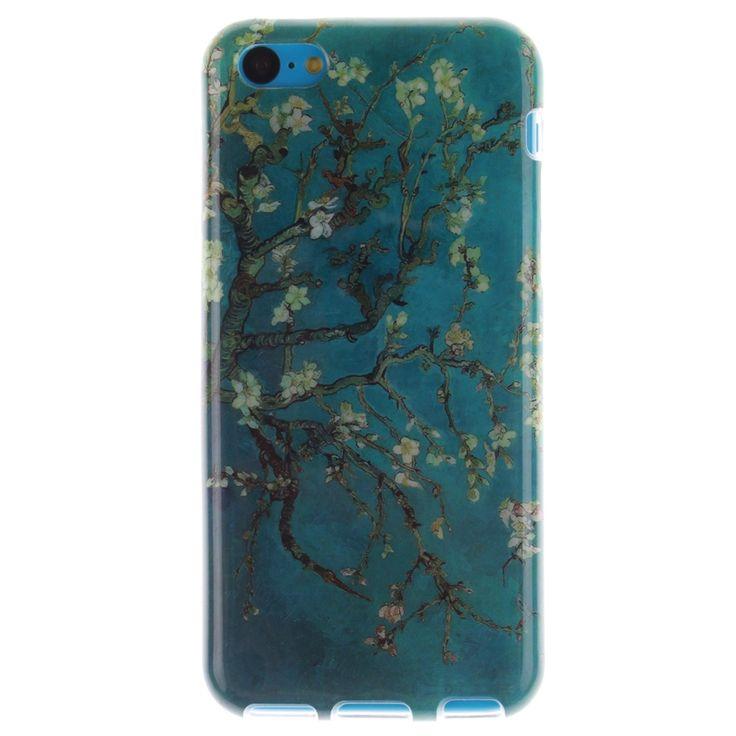 Для iphone 5C чехол красивая персик цветок дерево художественный дизайн мягкой тпу для iphone 5C синий телефон чехол и сумки задняя крышкакупить в магазине E-DREAM Hongkong Science & Technology CO., LTD наAliExpress
