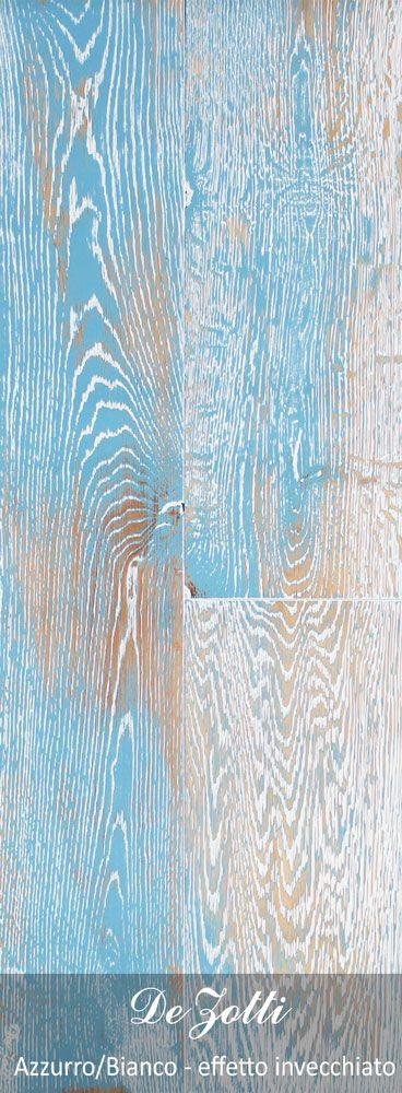 Pavimento in legno azzurro-bianco invecchiato.