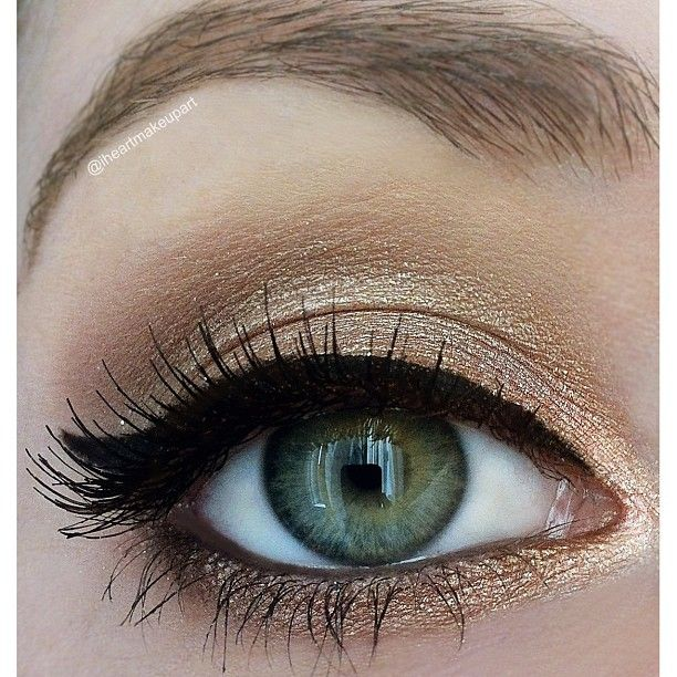 Simple shimmery gold look, Using Urban Decay Naked 2 Palette tutorial for this look