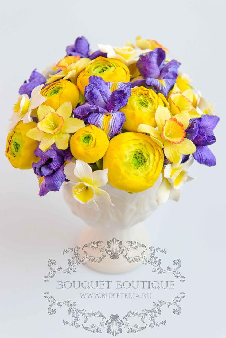 polymer clay flowers, deco clay,www.buketeria.ru,цветы из полимерной глины, интерьерные композиции, цветы из глины, ранункулюсы