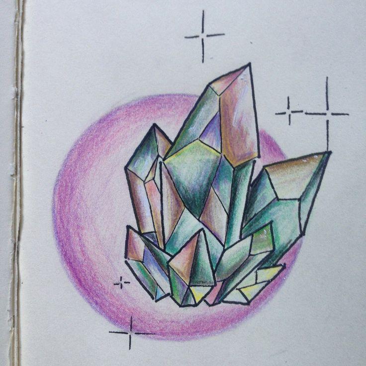 crystals moon drawing