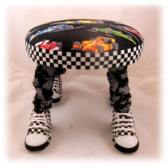 Small Footstool Child's Chair Nascar by ImaginationFootstool