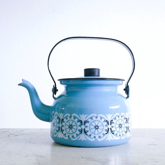 Vintage Blue Enamel Kettle / Finel of Finland / by RobertaGrove