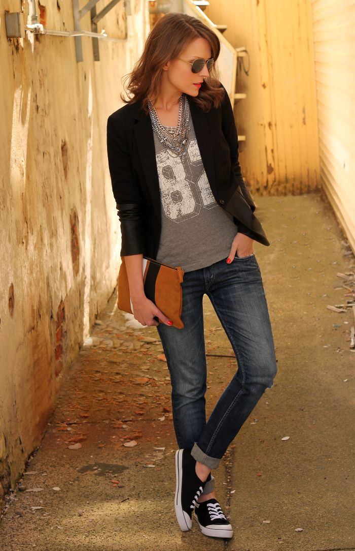 Do this with my navy blazer & navy chucks. Find sporty T-shirt. Experiment with necklaces. ...need clutch...