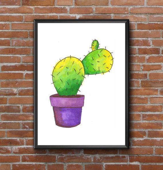 Vibrant cactus wall art poster,  Home decor by Itchy Avocado. Buy online here