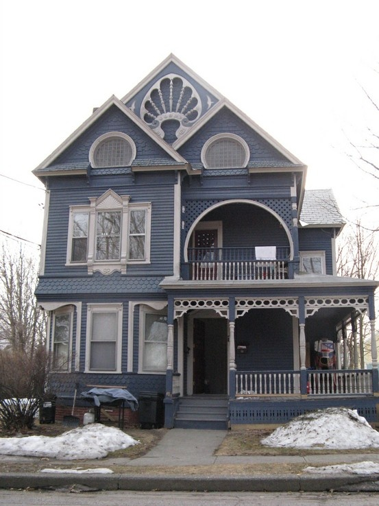 Blue Victorian w/ beautiful trim in Brattleboro Vt.