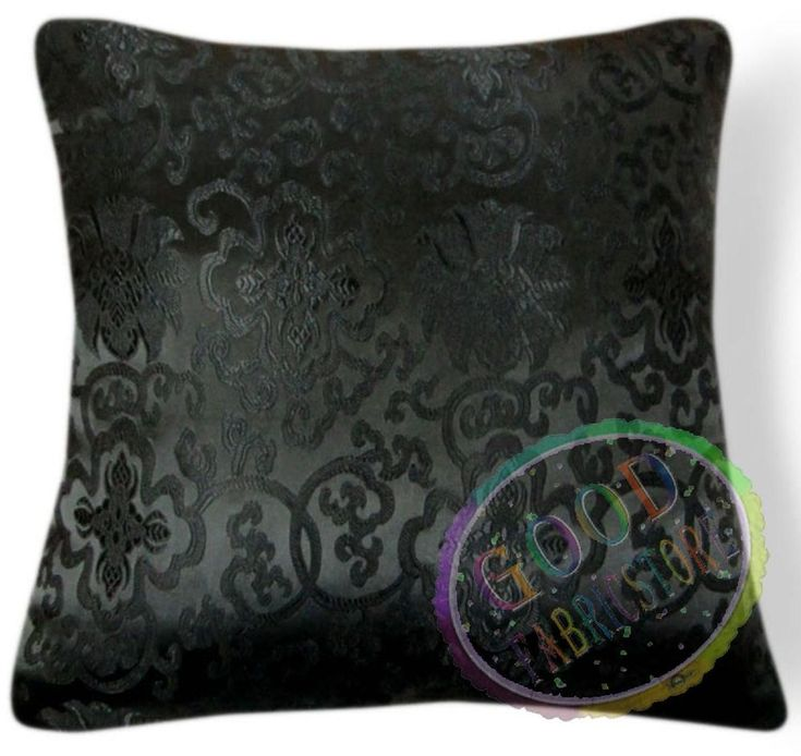 Black Aster Long Life Rayon Brocade Cushion Cover