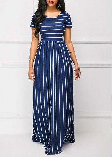 Navy High Waist Stripe Print Short Sleeve Maxi Dress