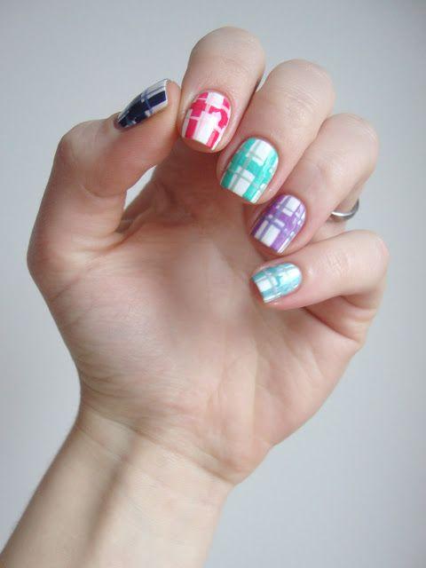 pastel tartan nail art #cocosnailss
