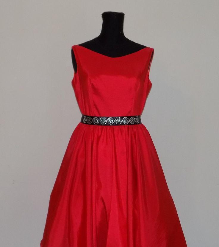 Abito rosso, PROM DRESS , abito di taffetà , abito da ballo , vestito da sera , abito da cocktail e festa , wedding dress, di MAQUELLA su Etsy