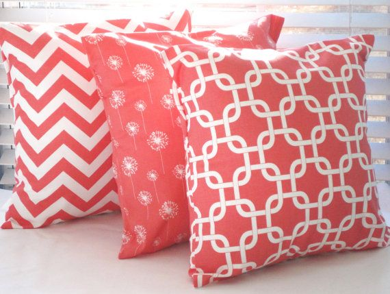 Coral Pillow Decorative Throw Pillow Cover  by PillowsByJanet, $17.00