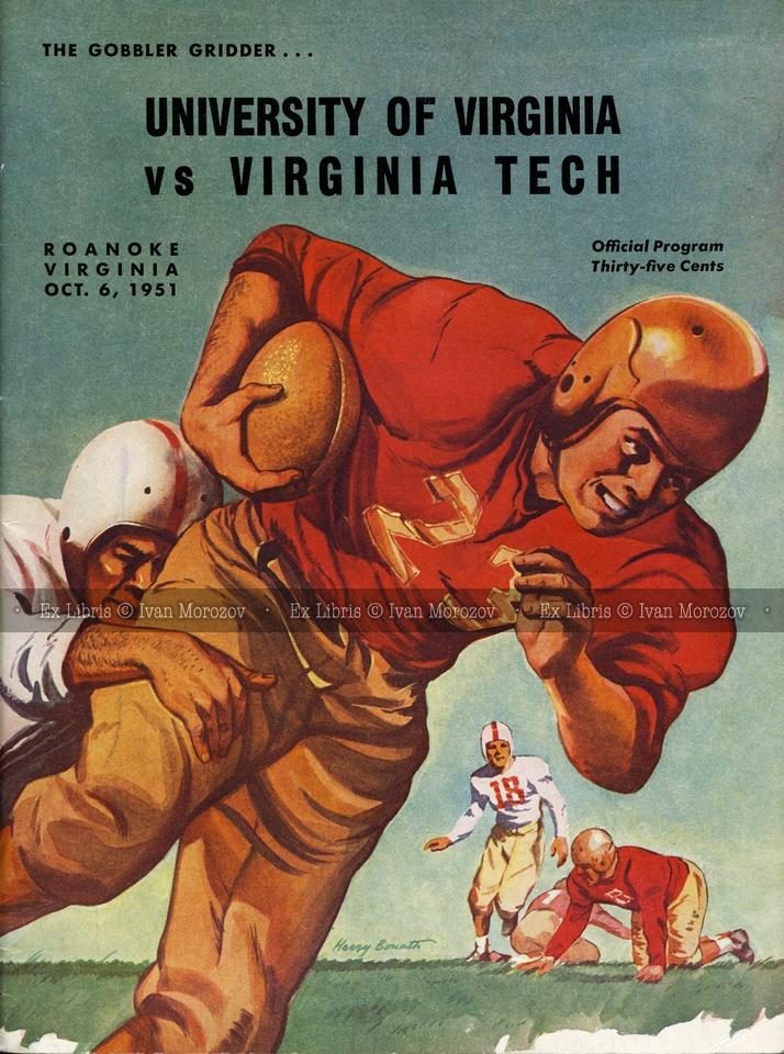 1951.10.06. University of Virginia (Cavaliers) at Virginia Tech (Hokies). VT Head Coach: Frank O. Moseley. Victory Stadium, Roanoke, VA. Final score: Virginia Tech 0, UVA 33.