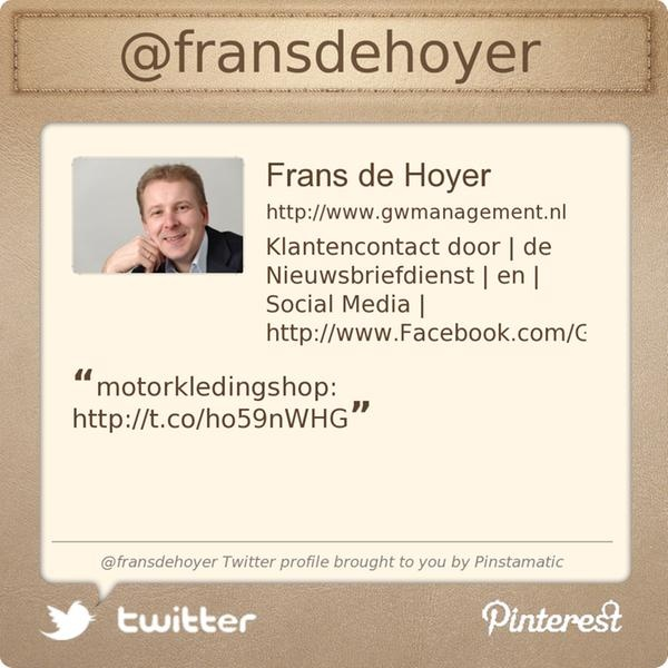 @fransdehoyer's Twitter profile courtesy of @Pinstamatic (http://pinstamatic.com): Annettespijk Twitter, Http Pinstamat Com, Profile Courtesi, Quicksportapp Twitter, Pinstamat Nederland, Twitter Profile, Pinstamat Httppinstamaticcom, Fransdehoy Twitter, Http Pinstamatic Com