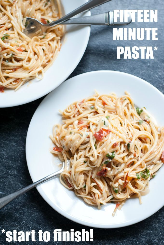 Get dinner on the table in fifteen minutes, start to finish, with the delicious tomato, basil, and mozzarella pasta!: