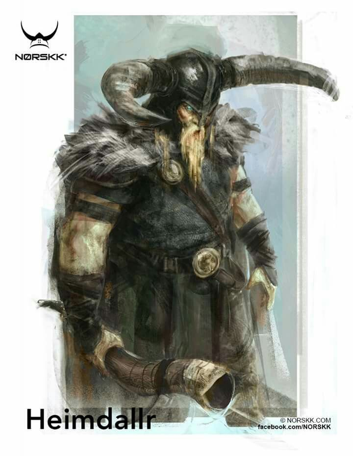 Heimdal- Guardian of the bifrost and the Aesir. He will blow his horn to signal the beginning of Ragnarok when the Jotuns come to storm Asgard's wall. He has gold teeth and nine mothers. He returns Freyja's necklace, the Brisingaman, to her when it's stolen by Loki. During Ragnarok he and Loki will kill each other.
