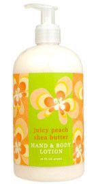 Juicy Peach Shea Butter Lotion by Greenwich Bay Trading Company. Luxurious spa body and hand lotion enriched with shea butter, cocoa butter, and natural extracts in fresh botanical scents.