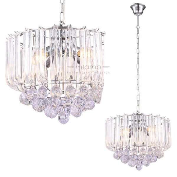 Żyrandol LAMPA wisząca MINNESOTA 15303 GLOBO kryształowa OPRAWA glamour ZWIS crystal chrom przezroczysty
