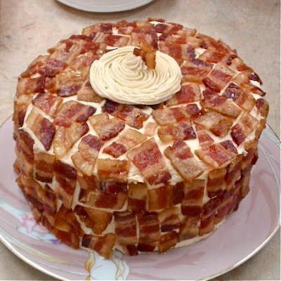 Candied Bacon Cake - maple brown sugar cake with vanilla maple frosting and candied bacon