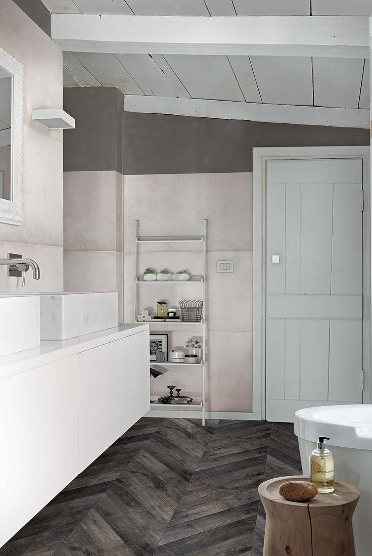 Wood effect ceramic floor: Visions by Rex #bathroom #wood #dark #floor #beige #wall #tile #modern #ideas