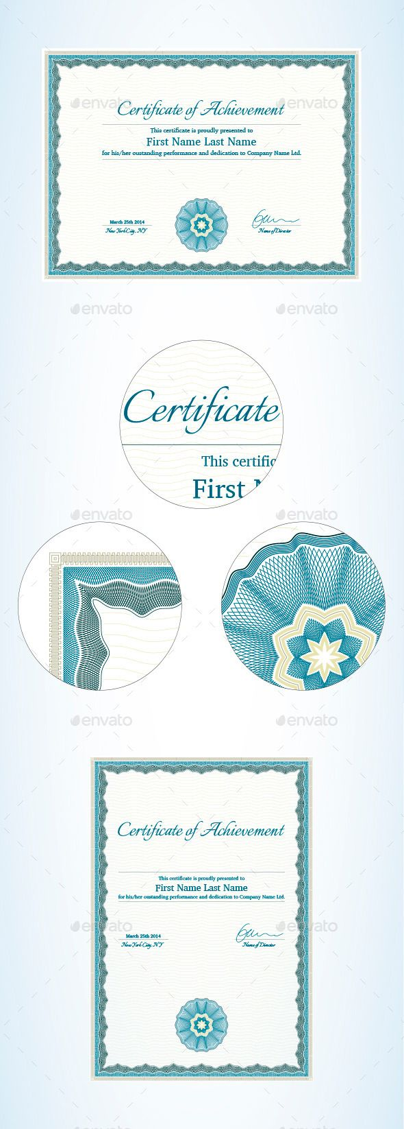Certificate of Achievement Template #horizontal #frame  • Download here → https://graphicriver.net/item/certificate-of-achievement-template/9523761?ref=pxcr
