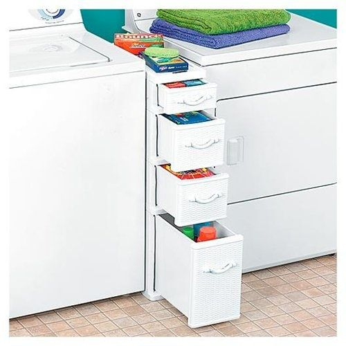 This wicker storage unit between the washer and dryer has worked great in my laundry room for five years. A little light weight for heavy detergent, but a perfect spot for missing socks and extra diapers, kids clothes, and shoes at Nana's house. It could also work well for small tools and home maintenance items.