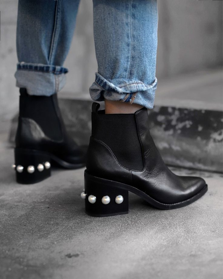 black boots with pearls