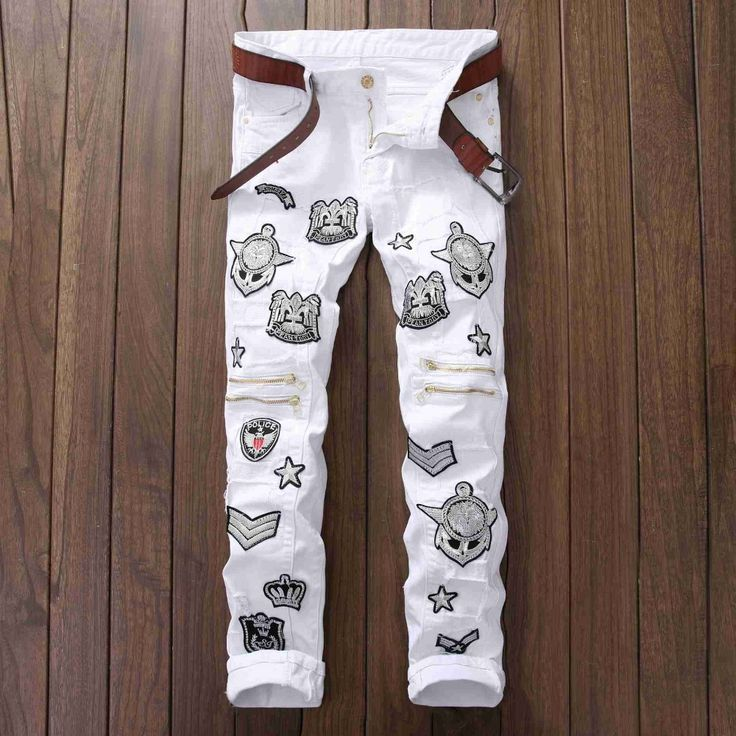 34.31$  Watch more here - http://ai7t3.worlditems.win/all/product.php?id=32702345044 - #2732 2017 White jeans Designer Men biker jeans Ankle zipper Fashion Hip hop jeans homme Straight Ripped jeans for men Skinny