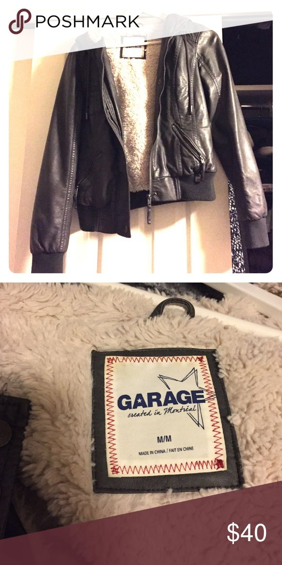 Garage Bomber Coat old school Garage bomber coat with hood. Super soft inside and very warm! Garage Jackets & Coats Utility Jackets
