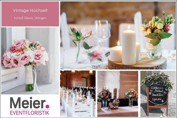 Schloß Filseck Blumen Tisch Dekoration Vintage für die Hochzeit in Stuttgart, … – Christina