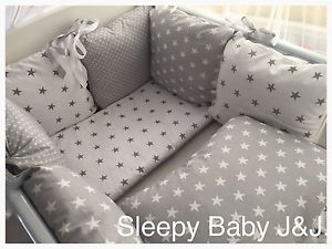 grey star crib bedding | Sleepy-Baby-J-J-Grey-and-white-stars-bedding-set-Cot-Cot-Bed