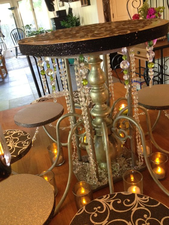 Wedding cake stand from old chandelier
