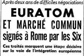 Les traités de Rome en Une du Figaro le 26 mars 1957.