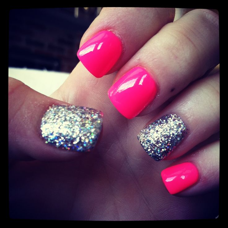 Pink with silver glitter ring finger and thumb.