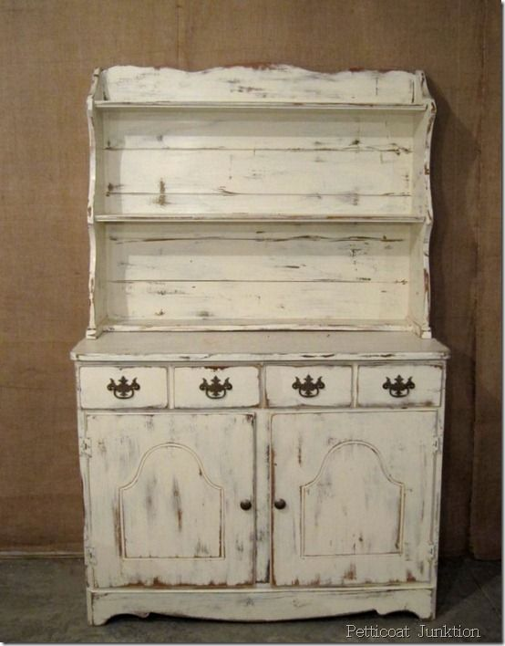 White Hutch With Distressed Paint Diy Furniture Distressed Painted Diy
